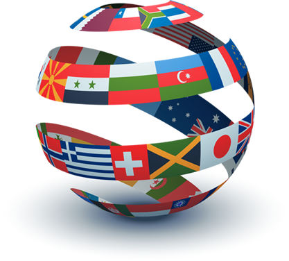 Globe with International Flags